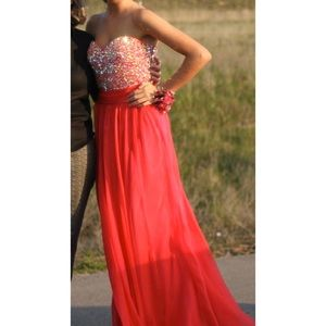 La Femme Coral Strapless Prom Dress with Beading